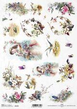 Reispapier-Motiv Strohseide-Decoupage-Vintage-Vögel-R1069