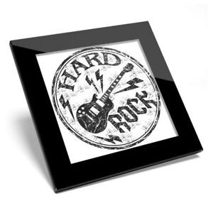 Glass Coaster BW - Hard Rock Electric Guitar Music  #40199