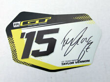"""Taylor Vernon signed Collectable GT Bicycle Number Plate, Size 4.5"""" x 8"""""""