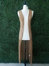 Forever 21 Brown Boho Crochet Knitted Maxi Long Duster Vest Cardigan M Coachella