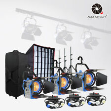 Fresnel Tungsten Spot light 650W*3+dimmer*3+case+Air cushion stand+1softbox Kit