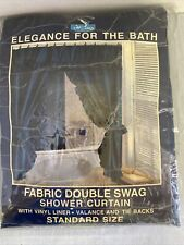 Vtg Double Swag Fabric Shower Curtain 6 Pc Set Blue Ruffled With Liner