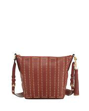 MICHAEL KORS Brooklyn Grommet  Medium Leather Feed Bag Brick, NWT!, $558