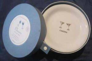 """Williams Sonoma Set of 6 CHEERS Ceramic Canapes Plates 6"""" Toasts Languages BOXED"""