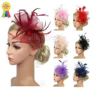 Women Fascinator Feather Hat Cocktail Tea Party Headband Lady Wedding Hair Clip