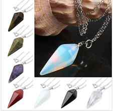 Gemstone Bead Pendulum Healing Dowsing Reiki Chakra Faceted Crystal multi-colors