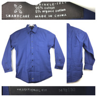 Nordstrom Mens 14.5/32 Blue 5% Organic Cotton L/S Wrinkle-Free Button Down Shirt