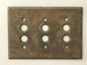 VINTAGE OLD SOLID BRASS TRIPLE PUSH BUTTON LIGHT SWITCH COVER WALL PLATE