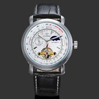 Mens Mechanical Watch Black Leather Silver Round White Face Automatic Moon Phase