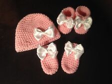 Baby Girls Newborn Crochet Hat Booties And Mittens Gift Set Photo Props