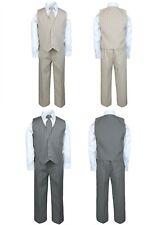 Baby Toddler Boy 4 Pc Gray Khaki Vest Set Pinstripe Formal Wedding Tuxedo Suit