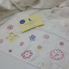 Pottery Barn Crib Embroidered Eyelet Bedskirt White Flowers Cotton Dust Ruffle