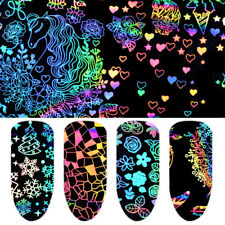 8Pcs Foils Finger DIY Nail Art Sticker Decal Water Transfer Stickers Tips Decor