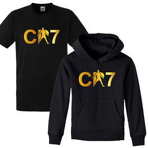 CR7 Celebration Ronaldo Soccer kids Gold Print football Hoodie T shirt Boys Girl