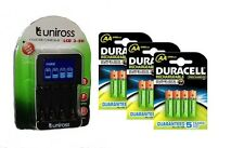 UNiROSS SMART FAST LCD CHARGER 12 x AA  DURACELL 2500 mAh RECHARGEABLE BATTERIES