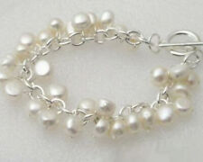 New Fashion Genuine White Pearl White Gold Plated Link Clasp Bangle Bracelet