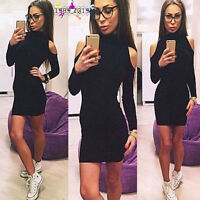 Women Autumn Winter Long Sleeve Knitted Bodycon Slim Party Sweater Mini Dress