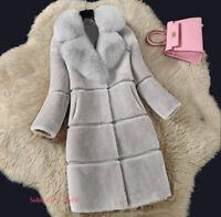 Womens Winter Warm Luxury Faux Fox Fur Jacket Coat Long Parka Overcoat Outerwear