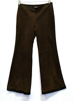 Auth VALENTINO SPA Brown Suede Satin Trim Side Zip Wide Leg Trouser Pants Size 8