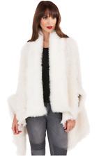Womens Faux Fur Poodle Teddy Teddie Wrap Jacket Poncho Cardigan Ivory Luxury