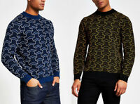 River Island Only & Sons Mens Cotton Knitted Printed Crew Neck Jumper Sweater