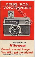 Zeiss Ikon Voigtlander Vitessa 126 electrónico cámara manual de instrucciones folleto