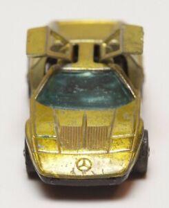 H51 Vintage Mattel Hot Wheels Redline 1972 Yellow Mercedes C111