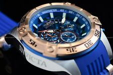 Invicta Men 52mm Speedway Blue Abalone Dial Rose Gold Chronograph Silicone Watch