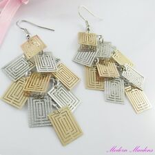 Two Tone Filigree Stamped Geometric Rectangles Hook Earrings 74mm