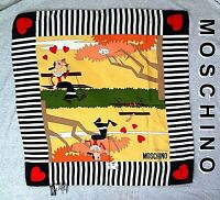 "Vintage MOSCHINO Olive Oyl SILK SCARF Made in ITALY 2003 19.5"" x 19.5"""