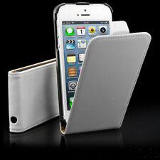 Apple iPhone 5 5s Se Leder-Imitat Tasche Flip Case Deckel Schutz Hülle weiß