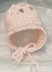 HAND-CROCHETED PINK Newborn BABY HAT with Ear Flaps and Ties VGC