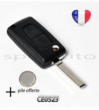 plip coque clé Peugeot 308 SW 407 807 Partner Expert 2 btons CE0523 sans rainure