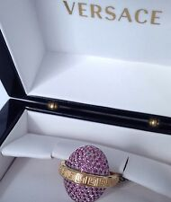Versace Sapphire 18k Gold Ring Made In Italy $13000 Retai!! Imported!!