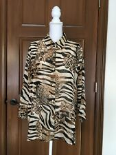WOMENS 20W ALFRED DUNNER BLOUSE SHEER ANIMAL PRINT BUTTON DOWN 3/4 SLEEVES