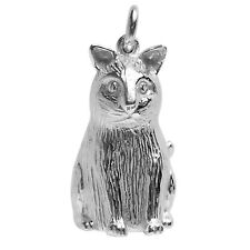 NEW Cat Bell Charm .925 Sterling Silver Animal