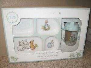 Peter Rabbit NURSERY FEEDING SET- Pottery Barn- Plate Cup CHILD Baby- B. Potter