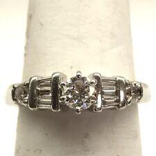 Platinum Diamond Solitaire Engagement Ring Round Ctw .75 Size 4.25 F/Vvs1