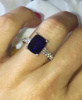 14K White Gold Finish 2Ct Cushion Cut Blue Sapphire Diamond Halo Engagement Ring