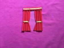 "1 red  dolls house curtains 4""x5""."