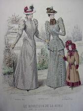 """63/ GRAVURE DE MODE """" Moniteur de la Mode Paris 1891 """".   Grand format 36x26"""