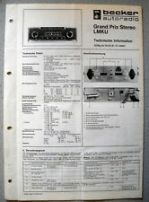 BECKER Grand Prix STEREO lmku Autoradio Service Manual a partire dal n. 140001