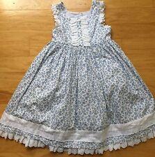 Classic Laura Ashley Blue & White Floral Dress  Eyelet Crinoline Girls 6
