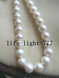 """stunning AAA+ 11-14mm south sea white earl necklace 20 """"14k GOLD"""