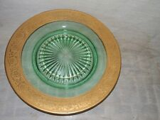 """Vintage, Antique, Green, Vaseline Glass With Exquisite Gold Border, 8"""", Plate"""