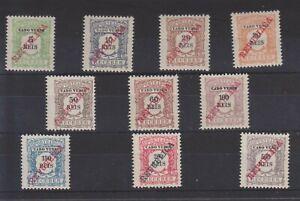 p1073 CAPE VERDE 1911 Mint Postage Due set.of 10 opt.'Republica'SG.D135/44