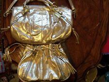 COACH MADISON SOPHIA GOLD METALLIC EMBOSSED SATCHEL W/FREE GOLD XBODY-EUC/NWOT