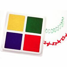 Four Part Paint Pad . Yellow Green Blue Red . For Stamping, Sponges, Printing...