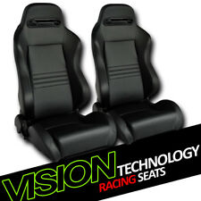 T-R Type Blk Stitch PVC Leather Reclinable Racing Bucket Seats w/Sliders L+R V02