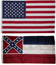 Mississippi and Usa Flag 3x5 Embroidered 2 double sided Flag Wholesale Lot